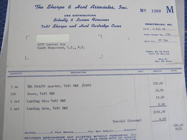 Invoice from old times - a Schultz and Larsen 54J Sporter 7x61 Sharpe and Hart